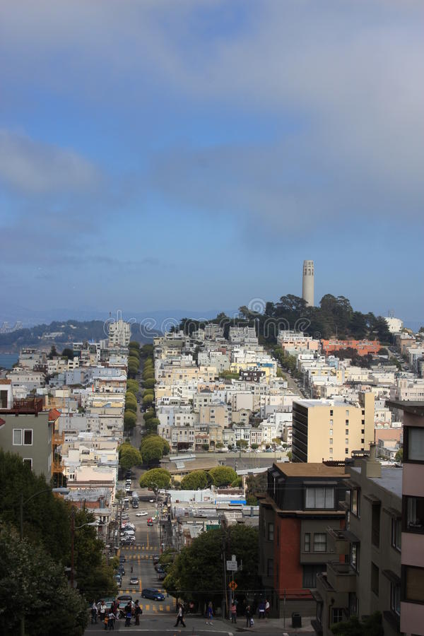 North Beach Coit Tower in San Francisco royalty free stock photo