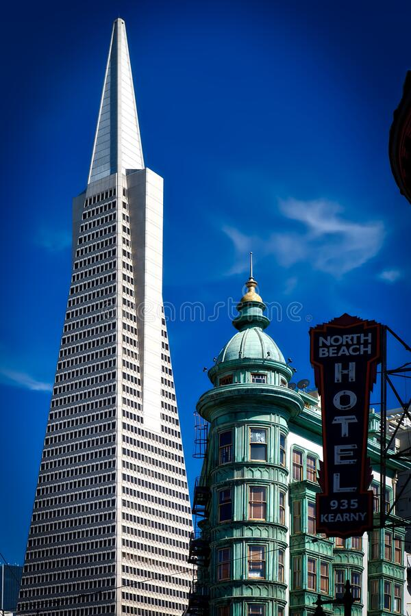North Beach Hotel 935 Kearny Signage over the High Rise Tower Under Blue Sky royalty free stock images