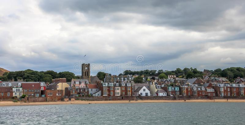 North Berwick , a seaside town and former royal burgh in East Lothian, on the south shore of the Firth of Forth, Scotland. Summer vacation in the UK - Sea view royalty free stock photography