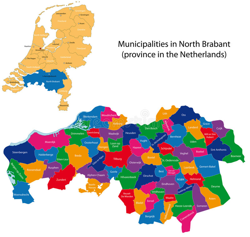 North Brabant - province of the Netherlands. Administrative division of the Netherlands. Map of North Brabant with municipalities stock illustration