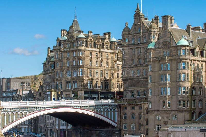 The North Bridge in Edinburgh. The North Bridge and historic buildings in Edinburgh royalty free stock photo