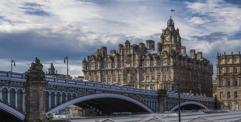 North Bridge,Old Town,Edinburgh,Scotland. North Bridge is a road bridge and street in Edinburgh linking the High Street with Princes Street, and the New Town royalty free stock images