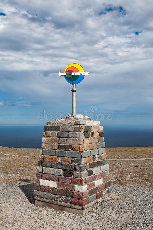 North Cape in Mageroya island, Norway. The arrow sign in North Cape in Mageroya island showing the north direction, Norway stock image