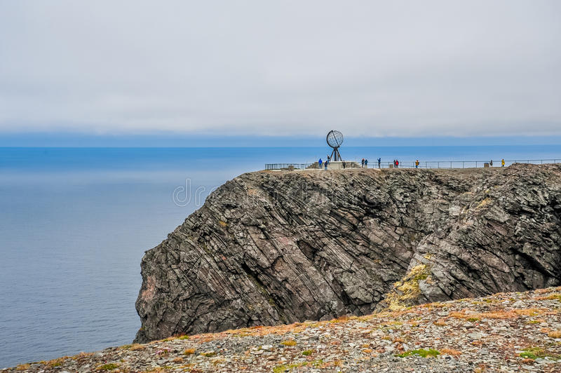 North Cape Nordkapp and Barents Sea at the north of the island of Mageroya in Finnmark, Norway. Beautiful landscape of North Cape Nordkapp and Barents Sea at the royalty free stock photo