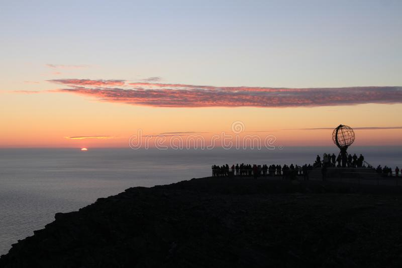 The North Cape, the northernmost promontory of Europe. Midnight sun seen from the North Cape, the northernmost promontory of Europe Norway, region of Finnmark royalty free stock photography