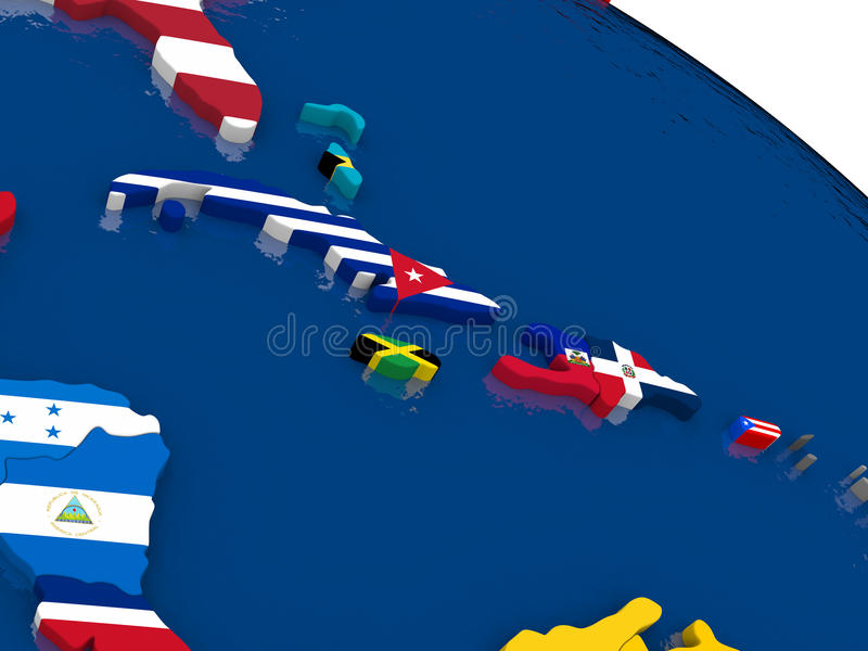 North Caribbean on 3D map with flags royalty free illustration