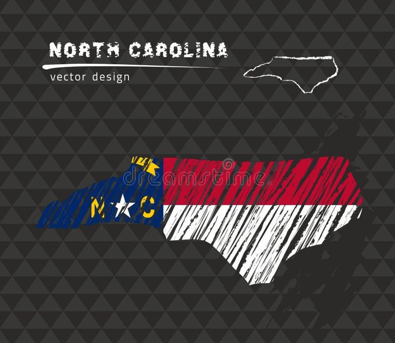 North Carolina översikt med flaggan inom på den svarta bakgrunden Krita skissar vektorillustrationen royaltyfri illustrationer