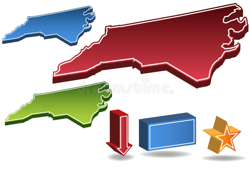 North Carolina 3D ilustração do vetor