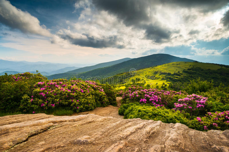 North Carolina Appalachian Trail Spring Scenic Mountains Landscape. Hiking in the Blue Ridge Mountains of Western NC and Eastern Tennessee stock photography