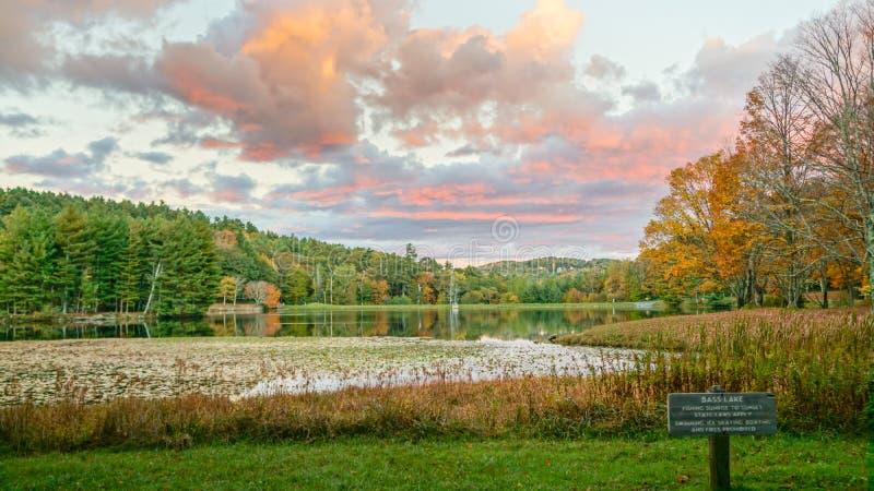North Carolina Bass Lake Moses Cone Park Sunset royalty free stock images