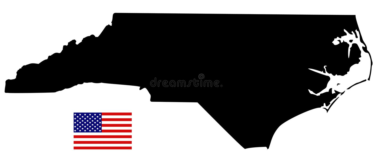 vector file of north carolina map with usa flag state in the southeastern region of the united states