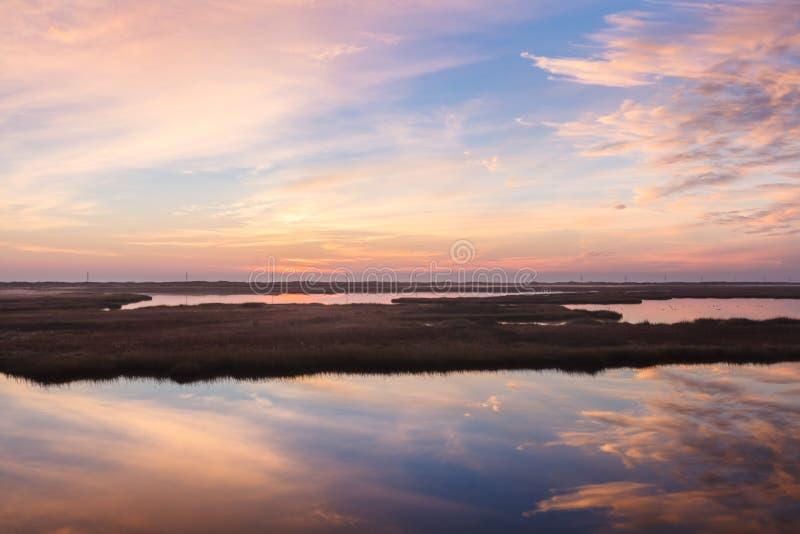 North Carolina Marsh at Bodie Island. The marsh near Bodie Island, Cape Hatteras National Seashore, Outer Banks of North Carolina at sunrise stock photography