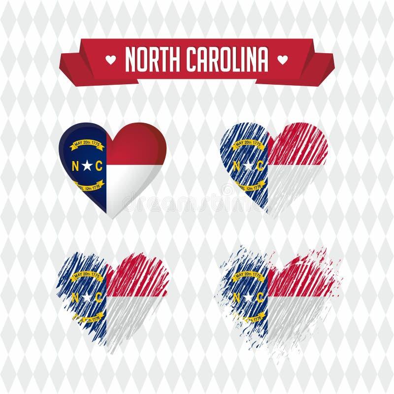 North Carolina med förälskelse Bruten hjärta för designvektor med flaggan inom vektor illustrationer