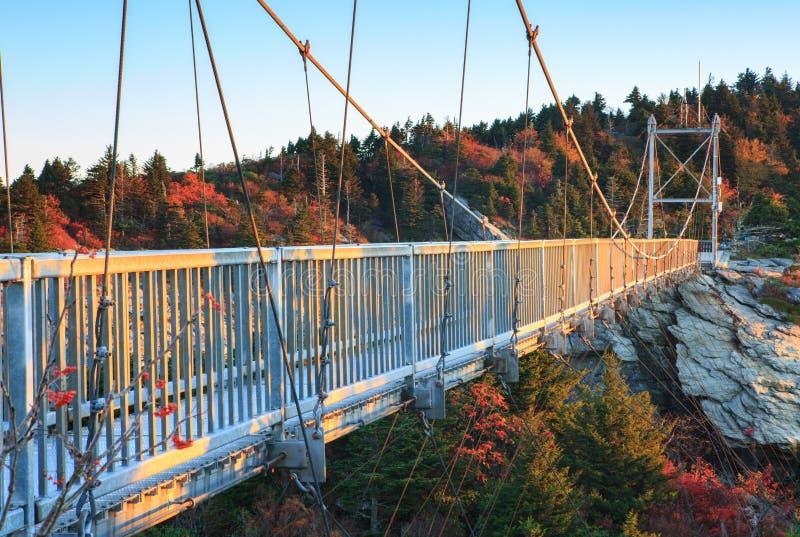 North Carolina Mile High Swinging Bridge Grandfather Mountain. This mile high suspension swinging bridge provides breathtaking views of Grandfather Mountains royalty free stock photography