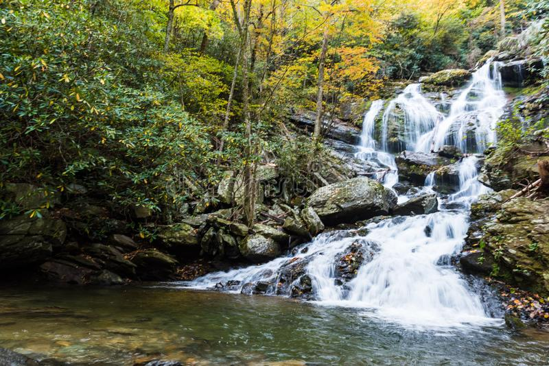 North Carolina Saluda Waterfall in the Season of Autumn royalty free stock photo