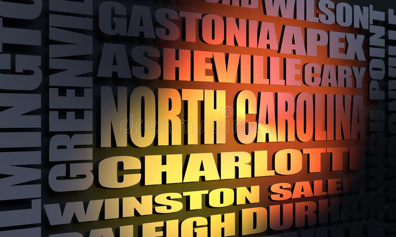 North Carolina state cities list vector illustration