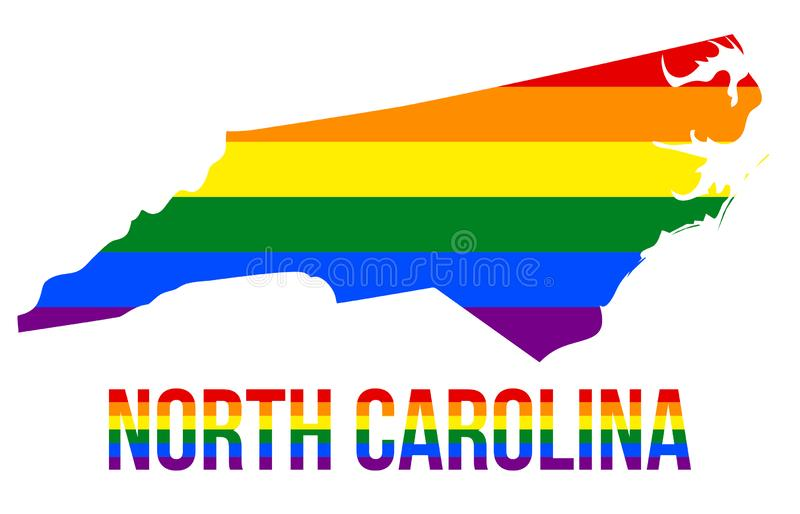 North Carolina State Map in LGBT Rainbow Flag Comprised Six Stripes With North Carolina LGBT Text. The Flag Comprised Six Stripes; Meaning to Each of The royalty free illustration