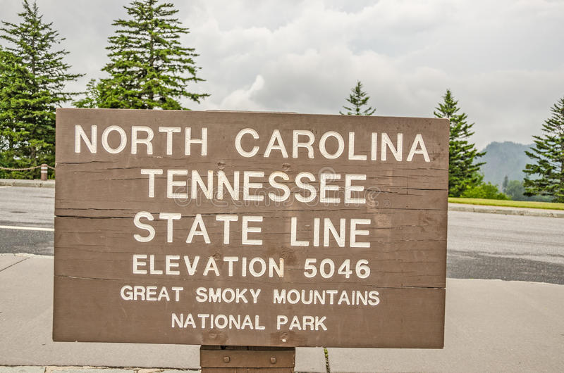 North Carolina and Tennessee State Lines Sign royalty free stock photos