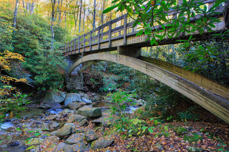 North Carolina Trail Footbridge Blue Ridge Mountains. Wooden pedestrian footbridge on the Tanawha Trail which crosses over a mountain stream in the Appalachian royalty free stock image