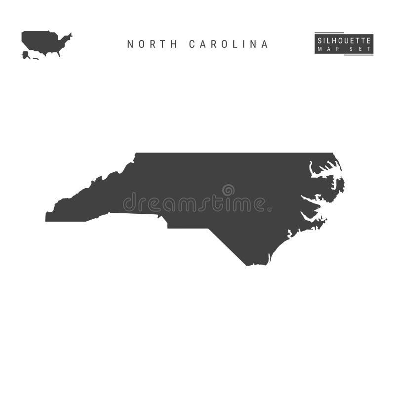 North Carolina USA påstår vektoröversikten som isoleras på vit bakgrund Hög-specificerad svart konturöversikt av North Carolina stock illustrationer