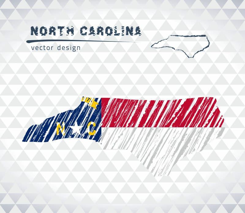 North Carolina vektoröversikt med flaggainsidan som isoleras på en vit bakgrund Skissa drog illustrationen för krita handen stock illustrationer