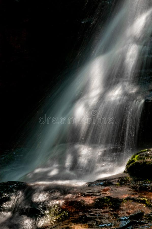 North Carolina waterfall cascade with a blurred cascade of water. stock image