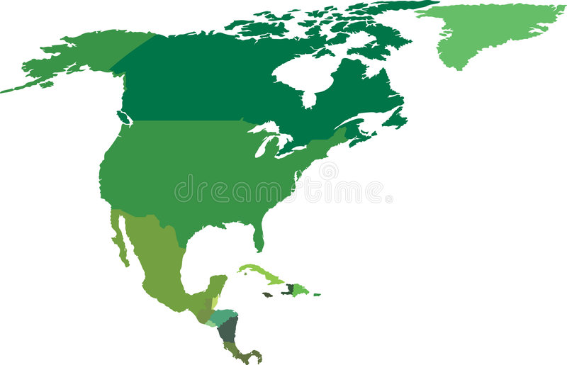 North and Central America stock illustration