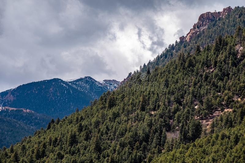 North cheyenne canyon canon colorado springs. Mountain landscape forest views of vacation travel royalty free stock image