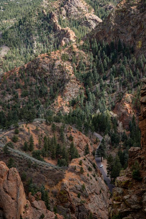 North cheyenne canyon canon colorado springs. Mountain landscape forest views of vacation travel royalty free stock photography