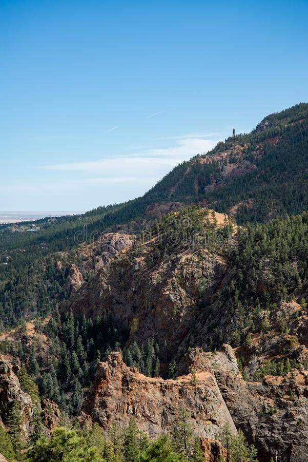 North cheyenne canyon canon colorado springs. Mountain landscape forest views of vacation travel stock photos