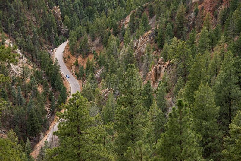 North cheyenne canyon canon colorado springs. Mountain landscape forest views of vacation travel stock image