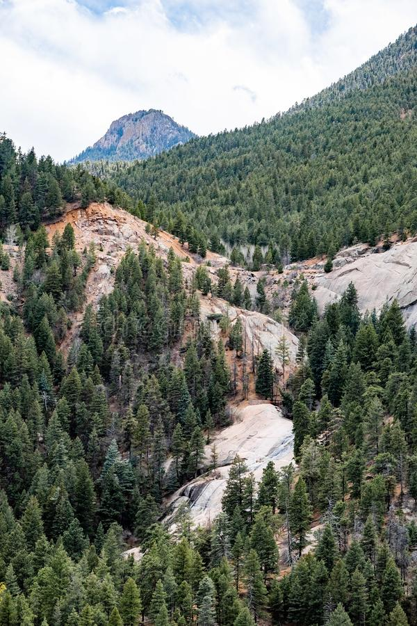 North cheyenne canyon canon colorado springs. Mountain landscape forest views of vacation travel royalty free stock photos
