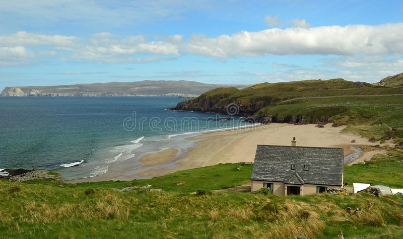 Sutherland beach on the North Coast 500, Scotland United Kingdom Europe. The North Coast 500 is a 516-mile 830 km scenic route around the north coast of Scotland royalty free stock image