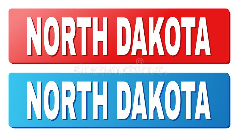 NORTH DAKOTA Caption on Blue and Red Rectangle Buttons. NORTH DAKOTA text on rounded rectangle buttons. Designed with white caption with shadow and blue and red vector illustration