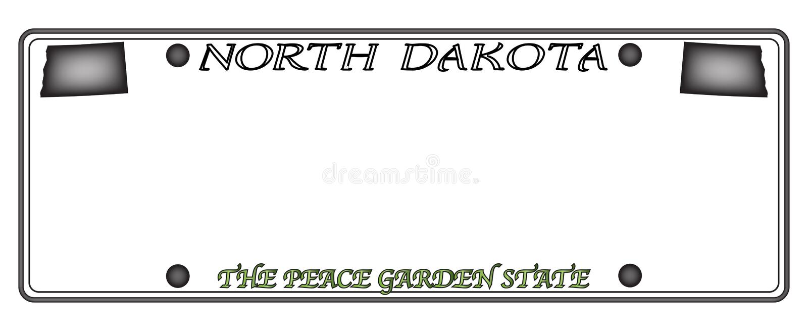 North Dakota License Plate. A North Dakota state license plate design isolated on a white background vector illustration