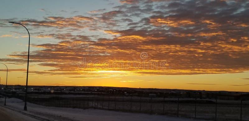 North Dakota soluppgång arkivfoto