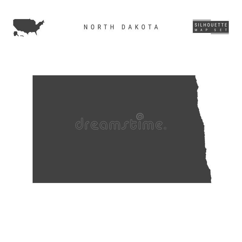 North Dakota USA påstår vektoröversikten som isoleras på vit bakgrund Hög-specificerad svart konturöversikt av North Dakota royaltyfri illustrationer