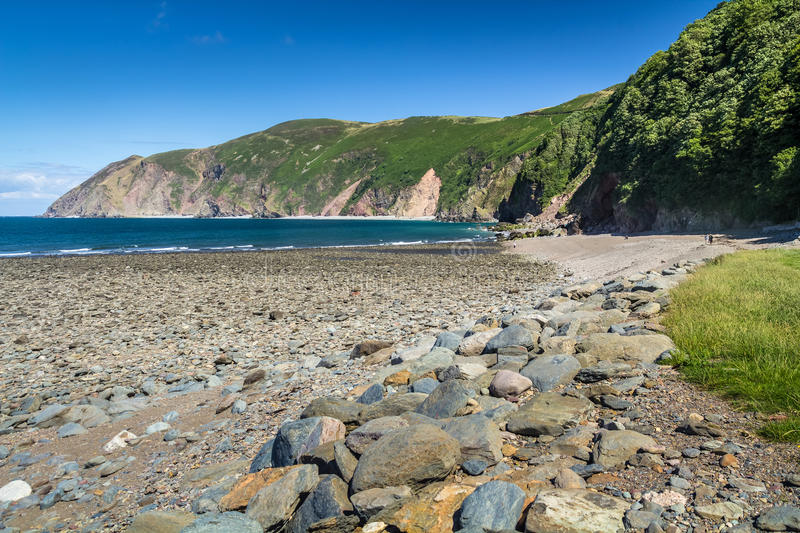 North Devon Coast near the villages of Lynton and Lynmouth. Sunny day and blue sky. UK stock image