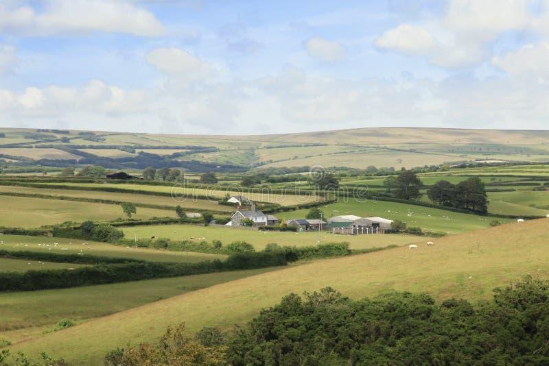 North Devon Farmland England. Fields and meadows of a North Devon English Farm stock images