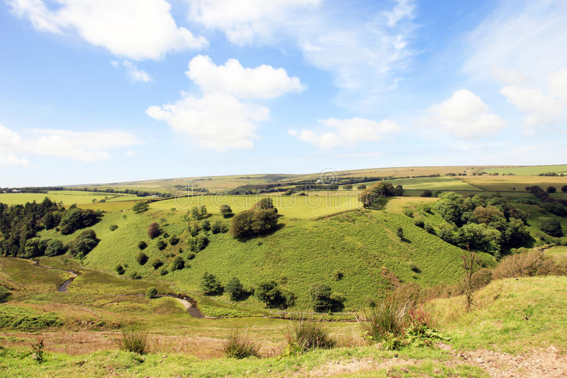 North Devon Farmland England. Rolling Fields and meadows of Exmoor North Devon farmland English royalty free stock images