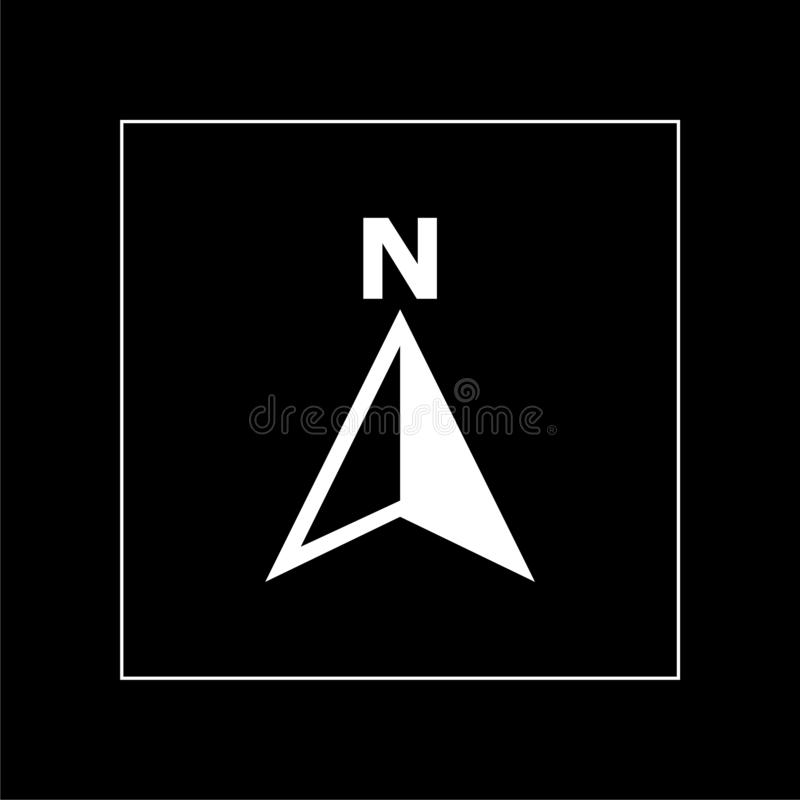 North direction compass icon on a dark background. Simple vector illustration stock illustration