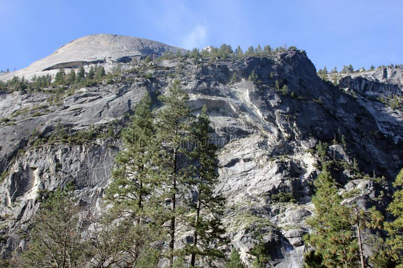 North dome and lower slopes viewed from Mirror lake, Yosemite National Park, California royalty free stock photography