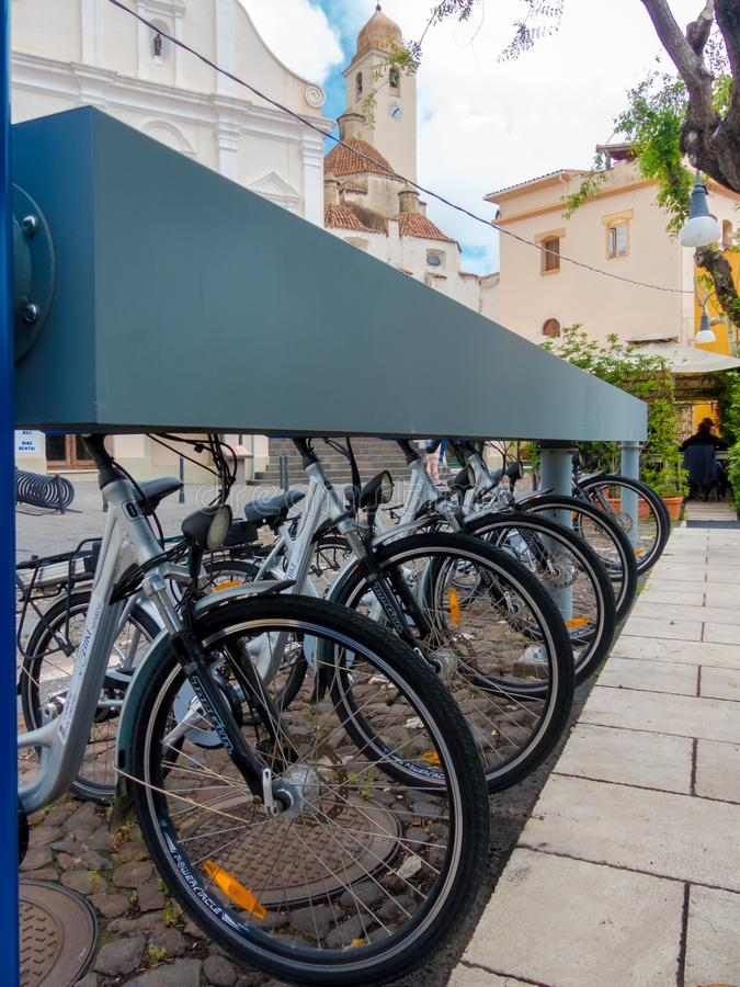 Tourist bikes in Italian hill village stock photo