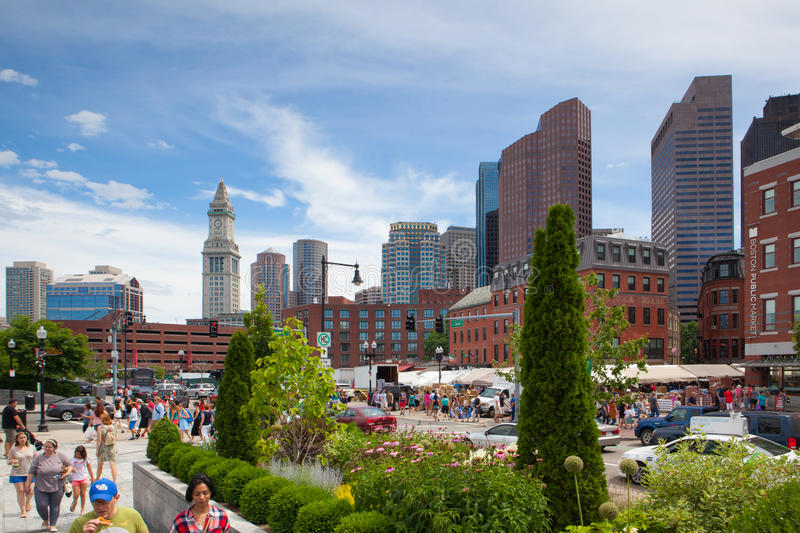 The North End Parks on the Rose Kennedy Greenway have reconnected Boston. stock image