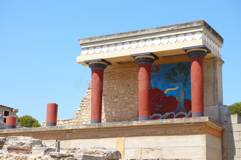 The North Entrance of the Knossos Palace with bull fresco on a Crete island, Greece stock photo