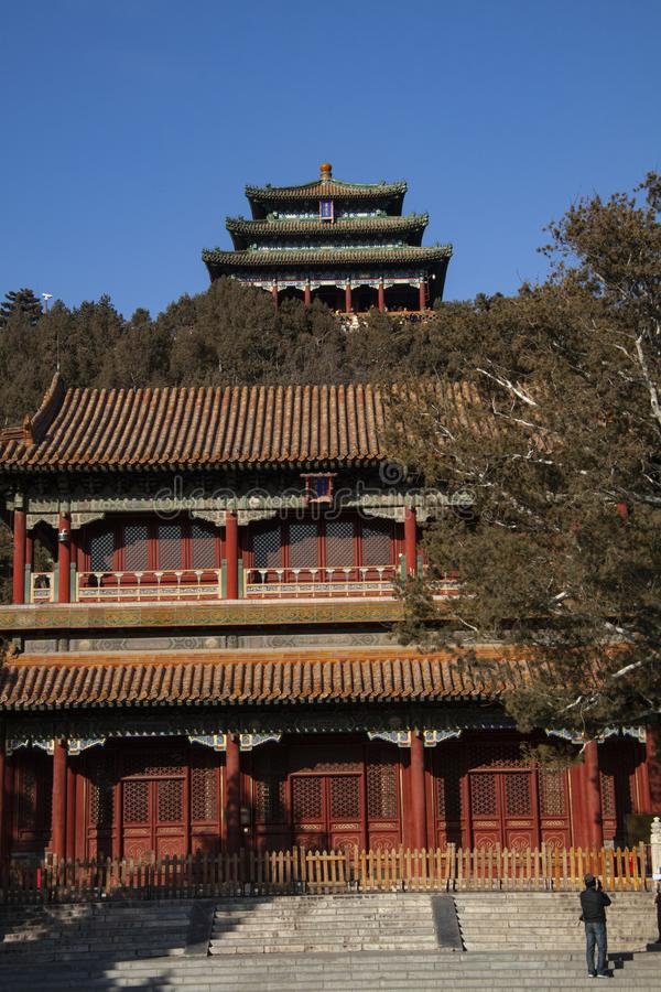 North Gate of the forbidden city in Beijing, China and Wanchun Pavilion in Jingshan Park stock photos