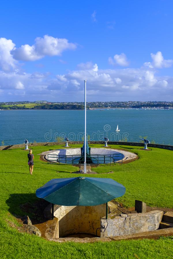 North Head Fortification in Auckland. View of the North Head fortification just across a bay from downtown Auckland, New Zealand royalty free stock photo