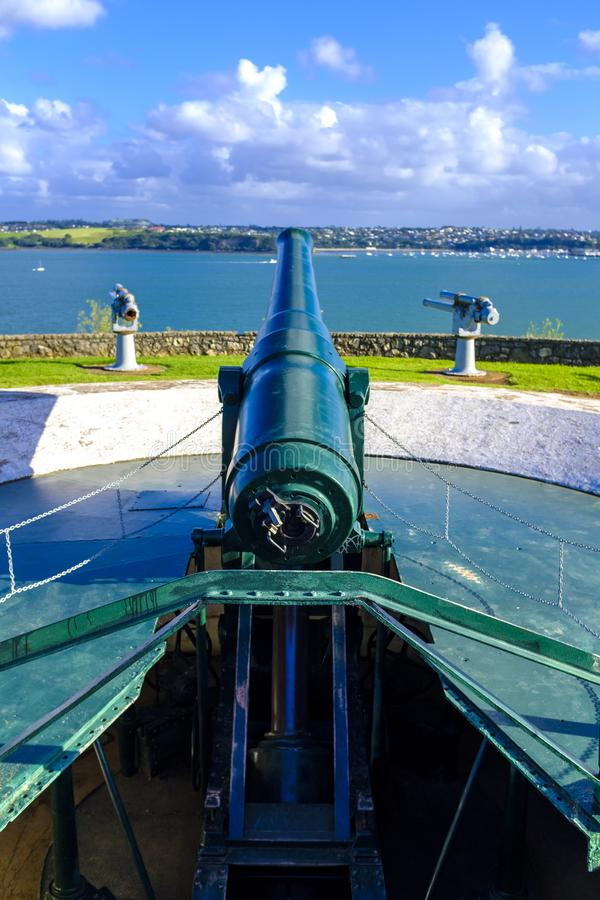 North Head Fortification in Auckland. View of the North Head fortification just across a bay from downtown Auckland, New Zealand stock images