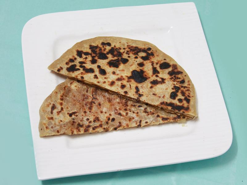 North Indian dish Punjabi aloo paratha royalty free stock photography