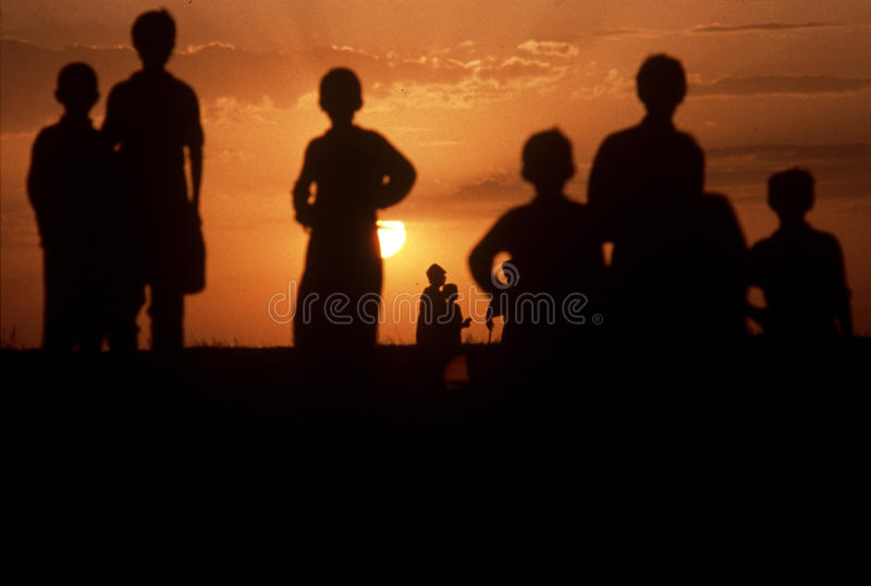 1993 North Iraq - Kurdistan. Boys play on sandy hills stock images